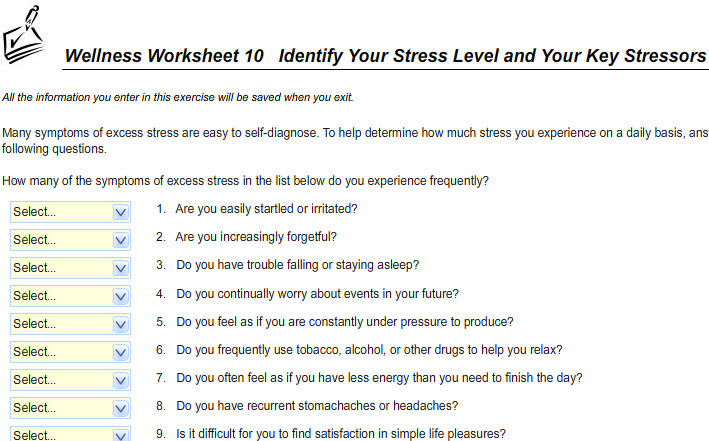 Personal Health – Personal Fitness Worksheet